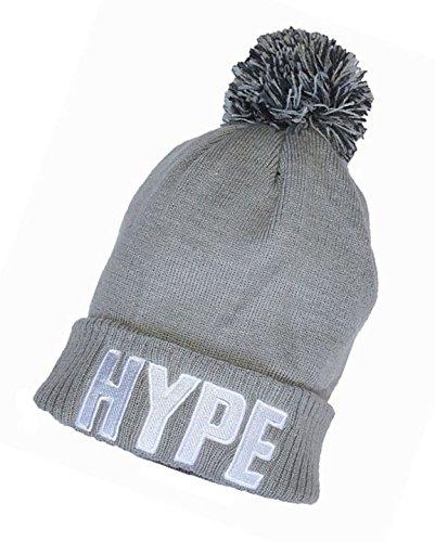Cool nueva HYPE con bordado pompón gris Beanie gorro vvqrHFw