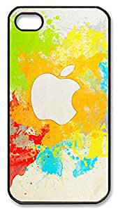iPhone 4 4s Case, iPhone 4 4s Cases - Coloful Hand painted Apple Logo PC Polycarbonate Hard Case Back Cover for iPhone 4 4s¨CBlack