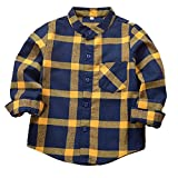 SERAIALDA Baby Boys Girls Button Down Plaid Flannel Long Sleeve Shirt 4T-5T