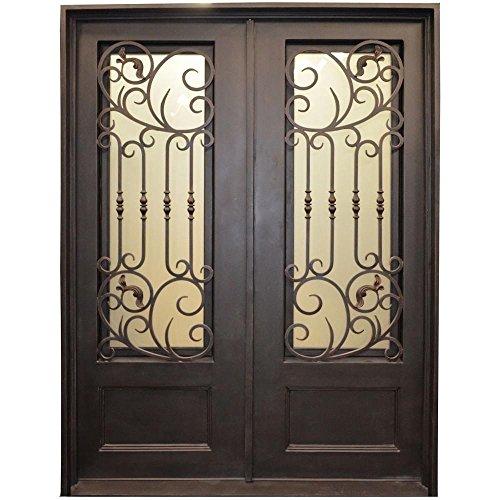 Trento Iron Doors 126BP 3/4 Lite Painted Metal Dark Bronze Wrought Iron Entry Door