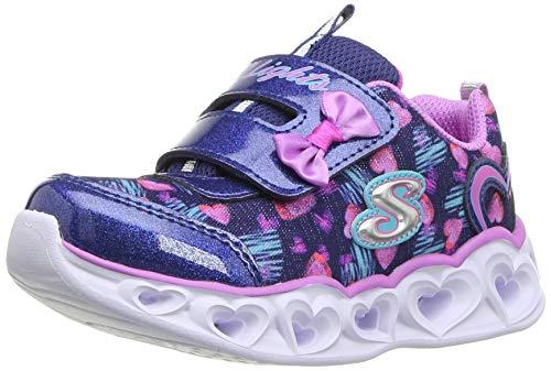 Skechers Kids Girl's Heart Lights Shoe, Navy/Lavender, 10 Medium US Toddler (Shoes Skechers Light)