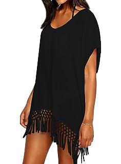 7074927767 Chalier Womens Chiffon Tassel Beachwear Stylish Swimwear Bikini Swimsuit  Cover up