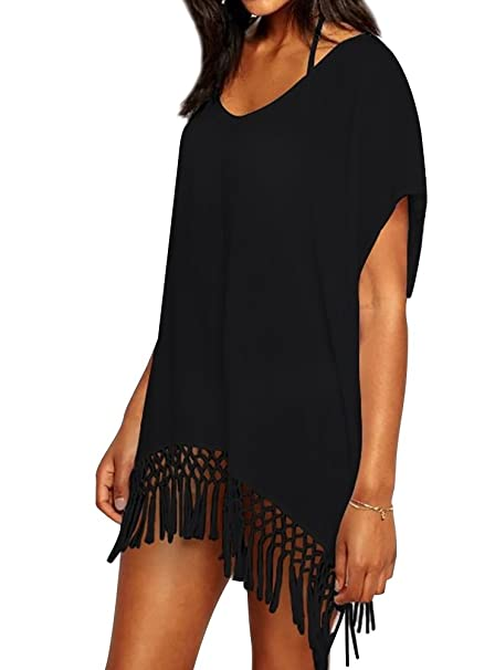 273dc0cea1 Chalier Womens Chiffon Tassel Beachwear Stylish Swimsuit Cover up, One  Size, A-black
