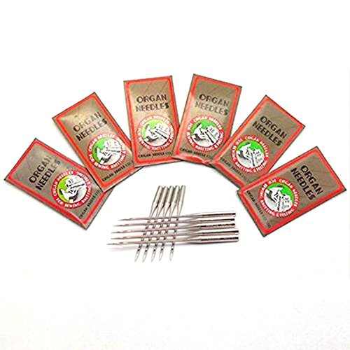 LNKA 60PCS Organ Flat Shank Sewing Needles,15X1 HAX1 130/705H Size 8,11,12,14,16,18 for All Household/Domestic Sewing Machines