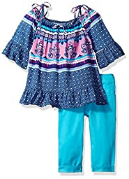 U.S. Polo Assn. Little Girls\' Off the Shoulder Top and Stretch Twill Capri Pant, Multi, 5