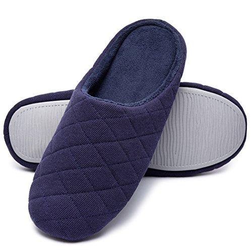 Pantofole Da Casa Imbottite In Memory Foam Trapuntate Da Uomo In Cotone Blu Scuro