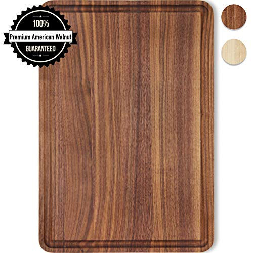 Wood Cutting Board Walnut Reversible with Juice Groove