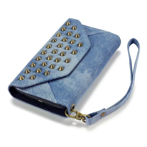 LG G2 Trendy Studded Rock Chic Purse Style Wallet Case - By Covert (Denim) (For All Carriers Except Verizon)