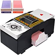 JCAsla Automatic Card Shuffler with 2 Pack Standard Poker Playing Cards, 2 Deck Electric Battery Operated Poke