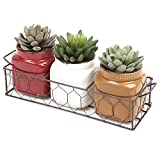 MyGift Set of 3 Small Rustic Ceramic Plant Pots w/ Double Handle Planter Basket