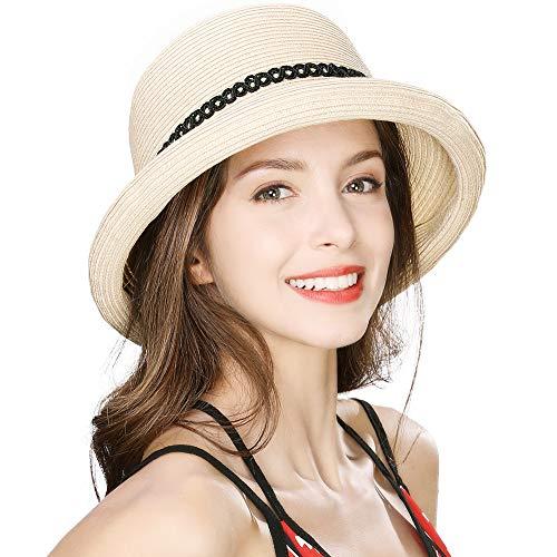 Beach Wide Rolled Brim Straw Panama Cloche Sun Hat String for Women Beige