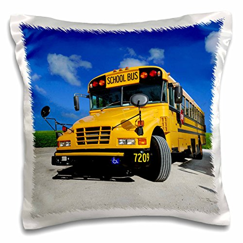 3dRose pc_154986_1 Yellow School Bus on A Sunny Day Pillow Case, 16