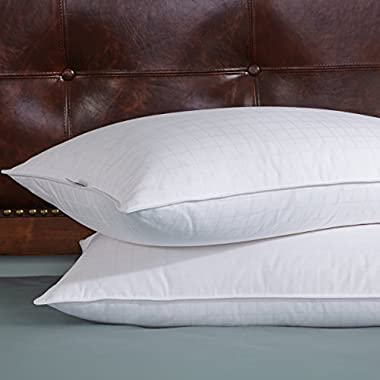 Set of 2,White Goose Feather and Down Pillows, Triple Chamber, 300 Thread Count,  Queen Size