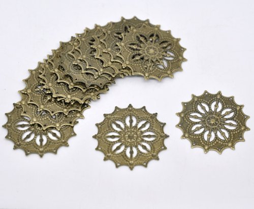 PEPPERLONELY Brand, 48 Antique Bronze Filigree Flower Focal Wraps Connector Components ()