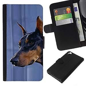 eJoy---La carpeta del tirón la caja de cuero de alta calidad de la PU Caso protector - HTC Desire 820 - --Doberman Pinscher Canine Pet Dog