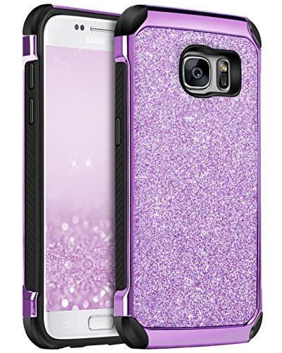 Galaxy S7 Case, BENTOBEN 2 in 1 Luxury Glitter Bling Hybrid Slim Hard Cover Laminated with Sparkly Shiny Faux Leather Chrome Shockproof Protective Case for Samsung Galaxy S7 (G930), Purple Samsung Cell Phone Covers