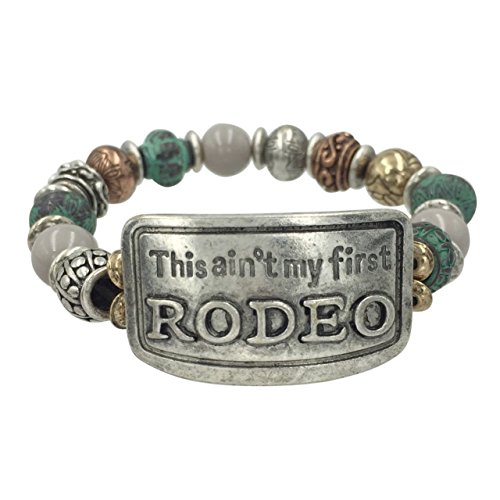 Western Theme Mixed Metals Stretch Bracelet (This Ain't my first Rodeo)