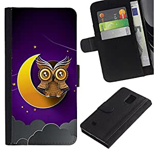 LASTONE PHONE CASE / Lujo Billetera de Cuero Caso del tirón Titular de la tarjeta Flip Carcasa Funda para Samsung Galaxy Note 4 SM-N910 / Awesome Owl On The Moon