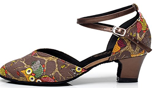 Salabobo AQQ-6235 Womens Wedding Party Tango Closed Toe Customize Heel PU Mesh Floral Dance Shoes Brown G4yG7EjkZ