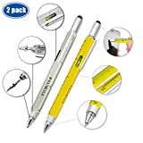 ETCBUYS Screwdriver Pen Pocket Multi-Tool 6 in 1 – Multi-Functional & Sturdy Aluminum DIY Tool Screwdriver, Stylus, Bubble Level, Ruler & Phillips Flathead Bit, Unique Gift Idea 2 (Yellow, Silver) For Sale