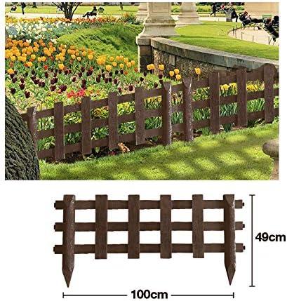 Valla para Jardín Plástico PVC Imitación Madera para Decoración y Proteger los Bordes del Césped, Patio o Jardineras en Tierra 4 Unidades: Amazon.es: Jardín