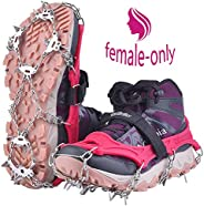 Uelfbaby Upgraded 19 Spikes Crampons Ice Snow Grips Traction Cleats System Safe Protect for Walking, Jogging, or Hiking on S