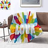 smllmoonDecor Pride Throw Blanket Love Valentines Theme Burst with Cute Little Colorful Hearts Word LGBT Gay Lesbian Print Artwork Image 60'x50' Multicolor
