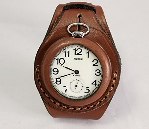 50mm Harness NEW hand-made Leather Brown Strap Band for Pocket Watch military style WW1 WW2 ...