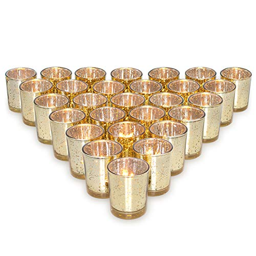 Letine Gold Votive Candle Holders Set of 36 - Speckled Mercury Gold Glass Tealight Candle Holder Bulk - Ideal for Wedding Centerpieces & Home Decor]()