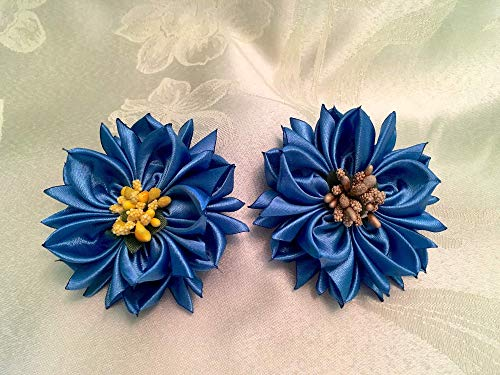 Royal Blue flower poinsettia Women Satin Fabric Flowers Brooch Pins Floral Bobbies Pin Hair Clip Flowers Art Studio