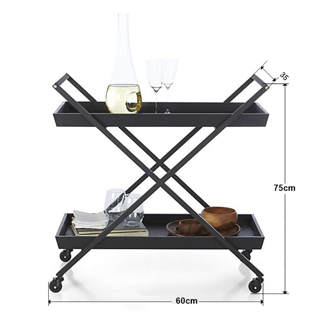 Dining Car, European Modern Dining Car Wine Rack Wine Cart Hotel Trolley, Household Metal Storage Rack with Wheels(603575cm) by Kitchen Cart (Image #2)