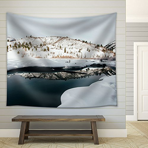 Winter Landscape Field Mountain Snow Covered Fabric Wall