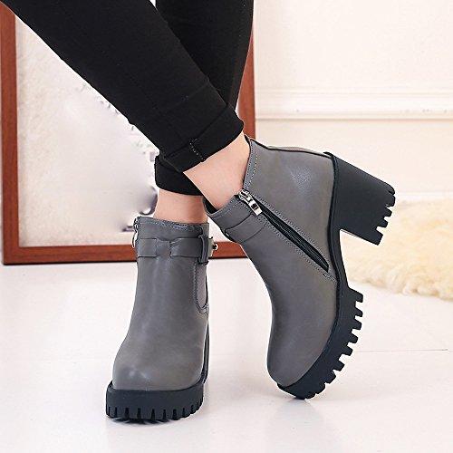 Zapatos Mujeres BUIMIN - Botas Cortas Martin Mujeres Sólido Plataforma Transpirable Tacón Alto Grueso Fiesta Novedad Moda Color Negro/Gris Talla 35/36/37/38/39 gris