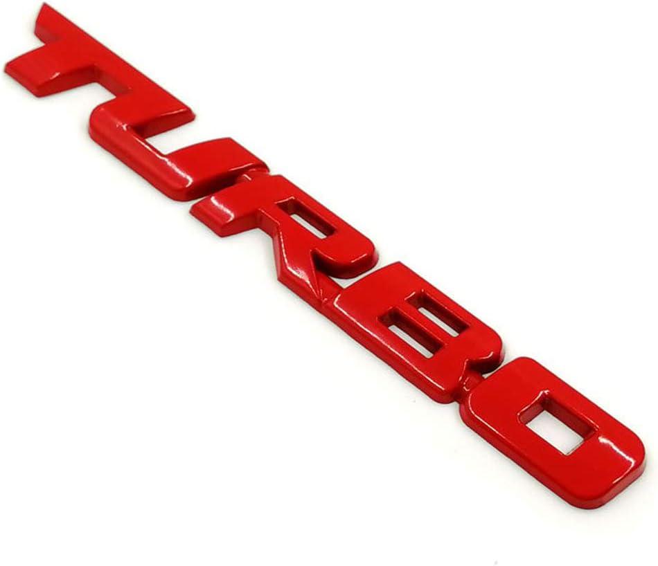 Rojo szdc88 Etiqueta engomada del Emblema DIY Reemplazo de Metal Accesorios de decoraci/ón Universal Coche Moto Impermeable 3D Turbo F/ácil de Instalar Cool Paste