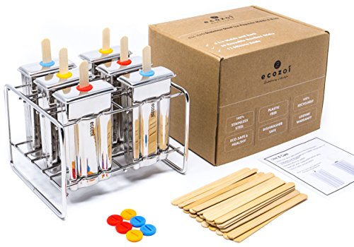 Ecozoi Eco-Safe Stainless Steel Popsicle Molds and Rack - 6 Ice Pop Makers + 30 Reusable Bamboo Sticks + 12 Silicone Seals + 1 (Bamboo Ice)