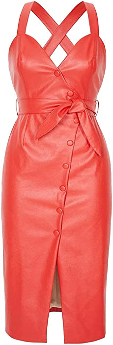 cd936f0d394b Mint Limit Womens Faux Leather Bodycon Dress Button Down Party Bandage Midi  Dresses Red