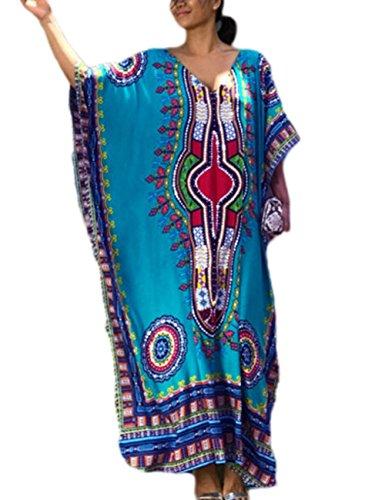 African Caftan - Bsubseach Women Beach Tunic Blue Bohemian Ethnic Print Kaftan Swimsuit Cover Up Maxi Dress Beachwear
