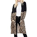 iLOOSKR Autumn Fashion Womens Leopard Print Splicing Long Sleeves Cardigan Blouse Long Tops Black