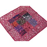 Pink Euro Sham Beaded Sari Patchwork Decorative Floor Lounge Indian Style Pillow Cover - 24 Inch X 24 Inch