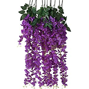 Houda Artificial Fake Wisteria Vine Ratta Silk Flowers for Garden Floral Decor 110