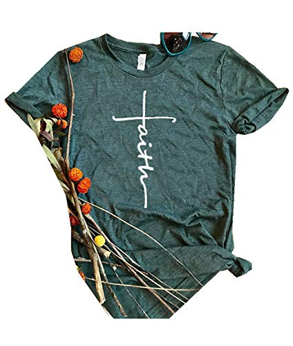 - Qrupoad Women Cross Faith Shirts Christian T Shirt Short Sleeve Graphic Tees for Religious Believers Green