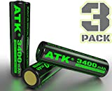 ATK 3.7v 18650 Battery | Built-in PCB Protection Board | 3400 mAh Li-ion Rechargeable Batteries (3-Pack)