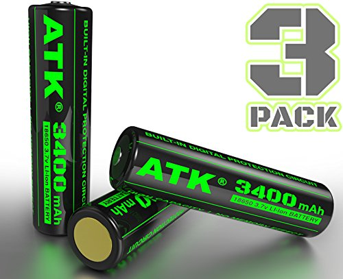 ATK 3.7v 18650 Battery | Built-in Over Heat & Charge Protection Board | 3400 mAh Li-ion Rechargeable Batteries (3pc PCB Tall(68mm) 3400mAh)