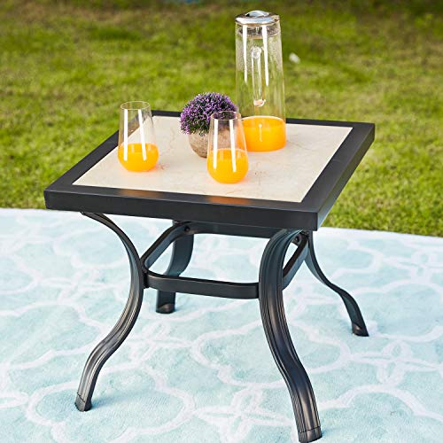 Festival Depot 21″ Metal Outdoor Side Table Patio Bistro Square Dining Table Off-White Ceramics Top with Steel Legs (20.9″x 20.9″x 19.7″H)