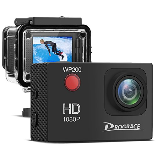 Prograce Action Camera Underwater Video Cam 1080P Full HD 12MP 2'' LCD Waterproof Sports Camera 30m with Mounting Accessory Kits by PROGRACE