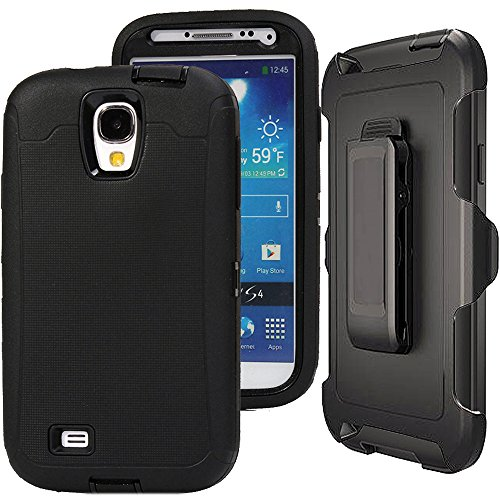Galaxy S4 Case,S4 Holster Case,Auker 3 Layer Shock Absorption Drop Proof Scratch Resistant Built-in Screen Protector Full Body Protective Defender Case with Belt Clip for Samsung Galaxy S4 (Black) (Best Rugged Galaxy S4 Case)