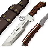 Walnut Wood 14'' Handmade D2 Steel Tracker Hunting Knife Prime Quality