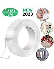 3M Nano Magic Tape Adhesive Multifunction Invisible Gel Anti-Slip Removable Double-Sided Reusable Transparent 3 Meter Waterproof and Moisture-Proof Tape (10FT/3M)