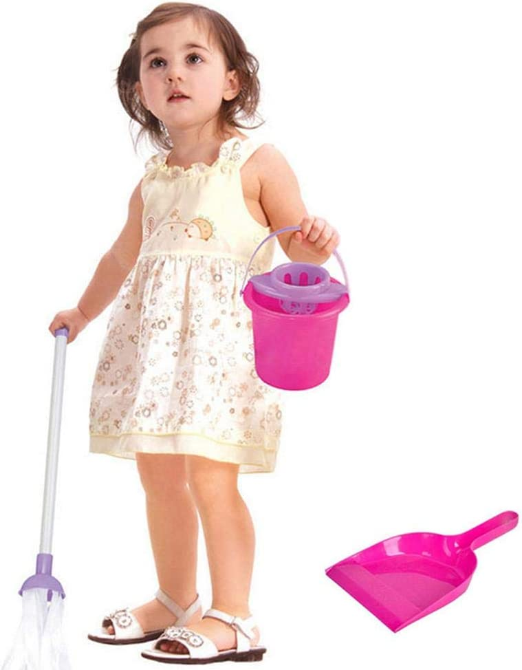 Housekeeping Cleaning Tool Kit Small Broom Mop Dustpan Brush Bucket Children Pretend Play Sweeping Toy Clean Supplies Tawcal Mini Kids Cleaning Set