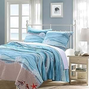 Nautical Blue 100-percent Cotton Bedding Quilt and Sham Set King Size